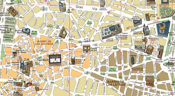 Plano de la zona centro de madrid es por madrid - Centro historico de madrid ...