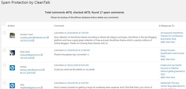 Spam Comments detected by CleanTalk