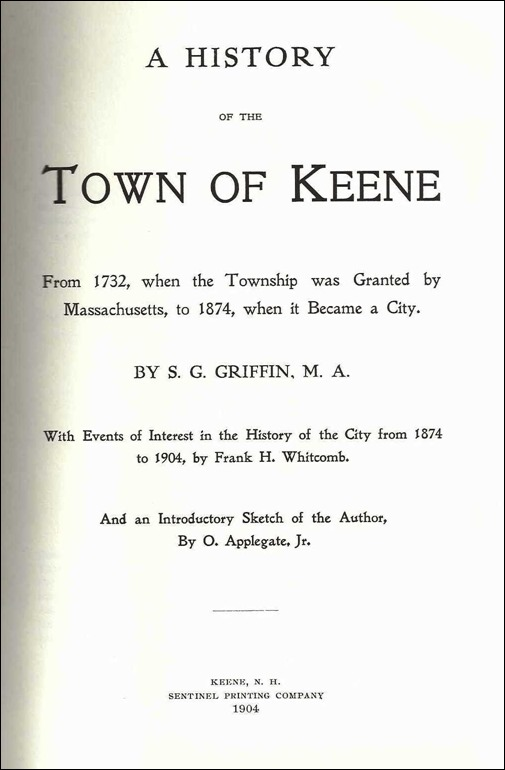 History of the Town of Keene New Hampshire_Title Page