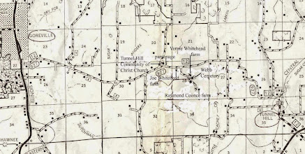 Photo: Webb Town, between Goreville and Tunnel Hill, just north of Vienna, the seat of Johnson County, IL. A southern arm of Lake of Egypt appears between #'s 17 and 18 at the top of the map. As a kid attending reunion dinners at the Vernie Whitehead farm house, Leigh heard dynamiting at the construction site of Lake of Egypt. He remembers some the folks talking about driving there to look at the project, but they never did. Actually, they just liked to sit and talk.