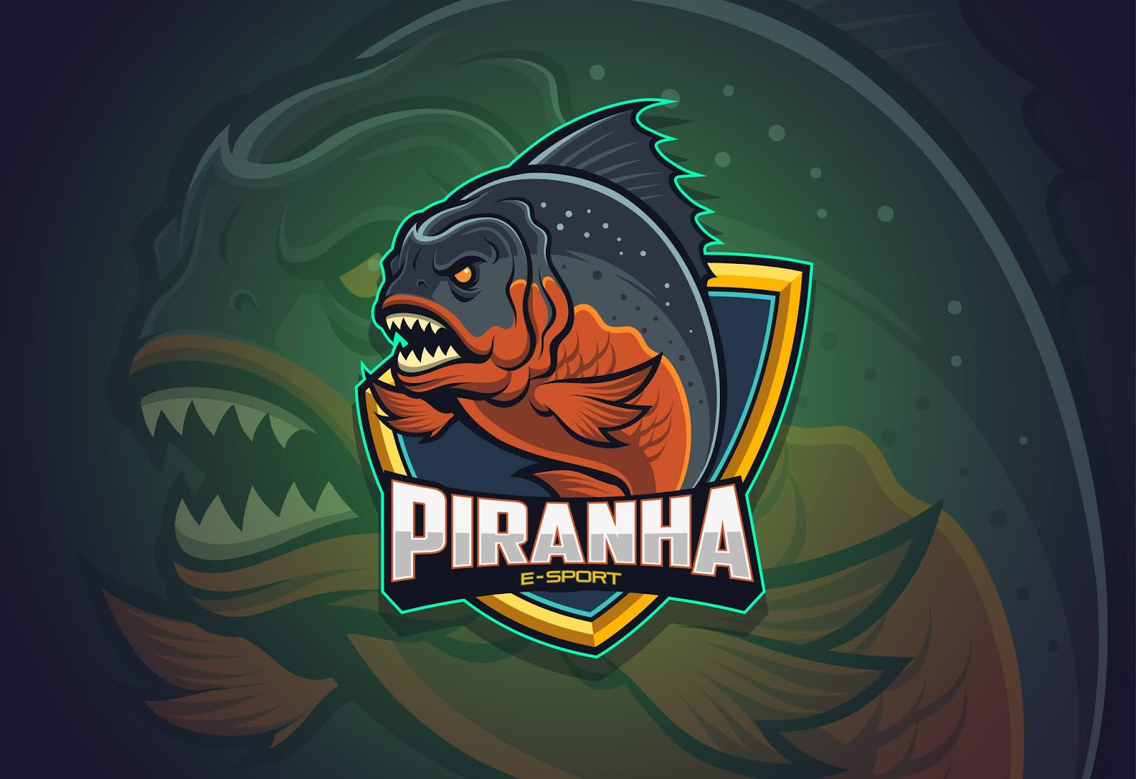 Piranha Esport Logo Design Free Download Vector CDR, AI, EPS and PNG Formats