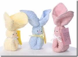 pascoa simples toalhas dobradas coelho