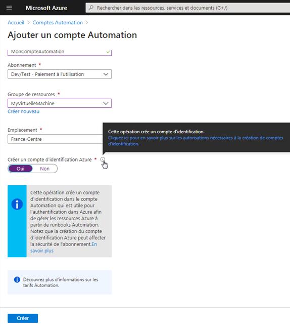Azure Création d'un compte d'Automation