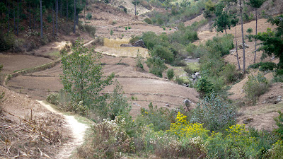 Path down the valley above the village. Villagers walked quite a ways to farm.Photos by TOM HART