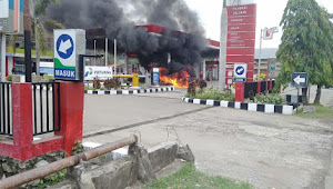 Motor Terbakar di SPBU Ammesangeng Wajo