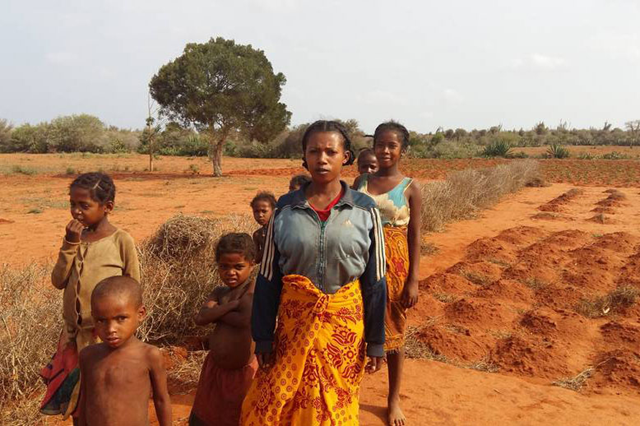 A family in Madagascar stands in front of their failed crops. Southern Madagascar has been hit by consecutive droughts. According to the November 2016 Integrated Food Security Phase Classification (IPC) findings, some 850,000 people, or half of the population in southern Madagascar, are facing hunger and in urgent need of humanitarian assistance. Photo: Luc Genot / FAO