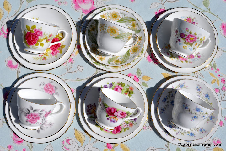 Duchess mismatched floral vintage tea cups set