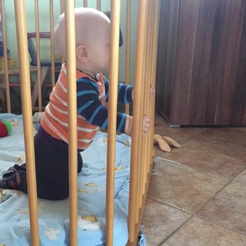 Baby zieht sich zum Knien hoch