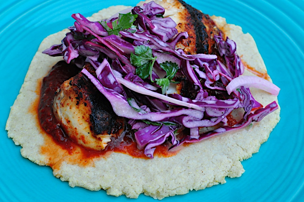 Grilled mahi mahi fish tacos with red cabbage slaw dad for Fish taco red cabbage slaw