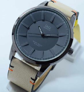 jam tangan Q&Q softbrown leather black grey