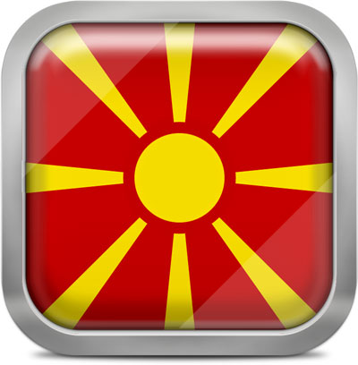 Macedonia square flag with metallic frame