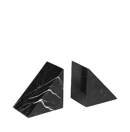 Bokstöd i marmor, Set med 2, Svart, PESA