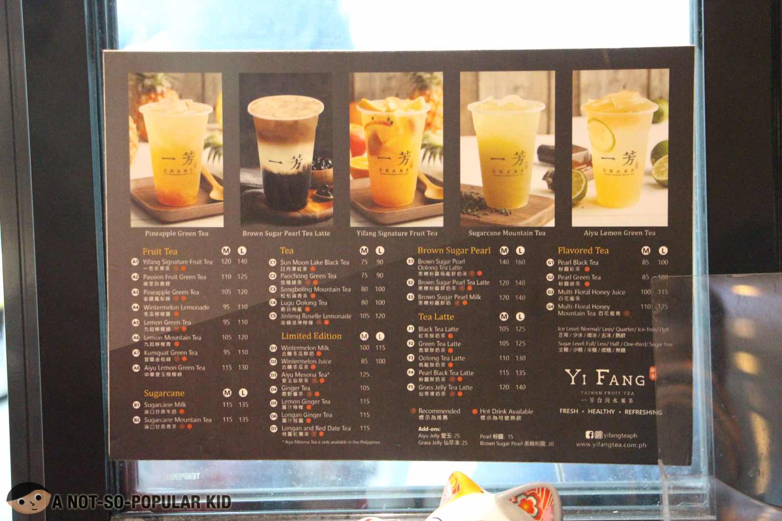 Menu and Price of Yi Fang Taiwan Fruit Tea Philippines - October 2018