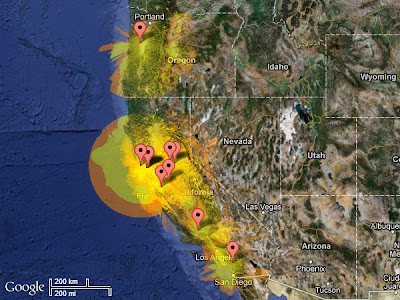 The Radio Mobile Online application</a> produced this combined coverage map for the West Coast 2 meter WSPR study group stations. At least one of our stations should be heard on 144.4905 MHz at locations from Southwest Washington through California from Redding to the Grapevine and to San Diego. The expected signal to noise ratio is greater than -20 dB in the yellow areas and less than-20 dB in the orange areas.
