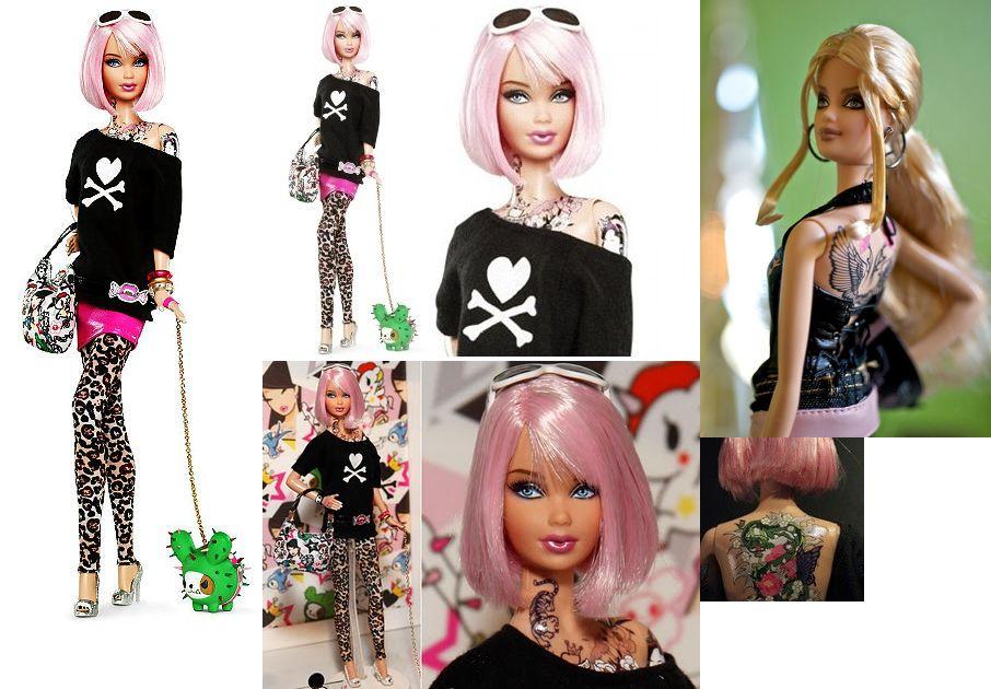 ピンクの髪の「タトゥ入り」バービー人形が賛否両論