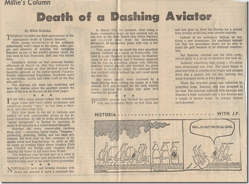 Death of a Dashing Aviator
