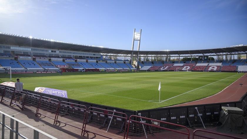 El estadio almeriense vacío durante la pandemia.
