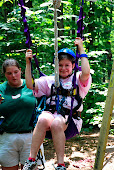 Steffie getting ready for the zip-line