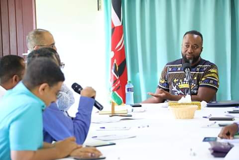 Mombasa Governor Hassan Joho meeting Coast general hospital management. PHOTO | BMS