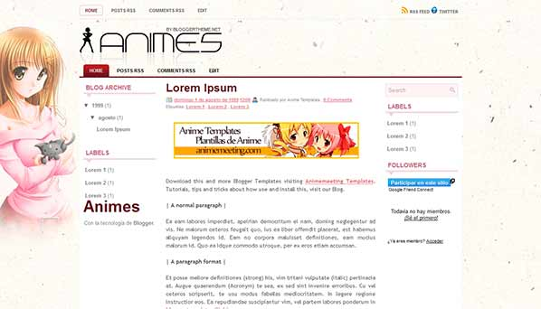 anime blogger template Animes