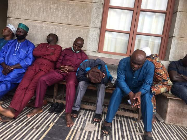 Igboho Supporters Waiting Outside During His Trial In Cotonou
