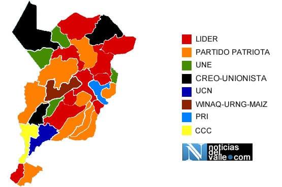 Mapa político alcaldias municipales del departamento de San Marcos