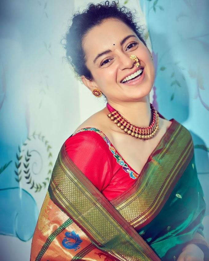 Kangana Ranaut Stylish Saree Stills