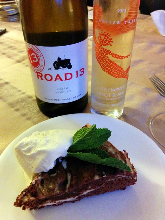 Road 13 2014 Viognier & Hester Creek 2013 Late Harvest Pinot Blanc with Chocolate Brownie Cheesecake