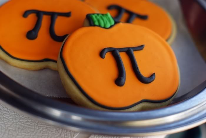 pumpkin pi punny decorated cookies