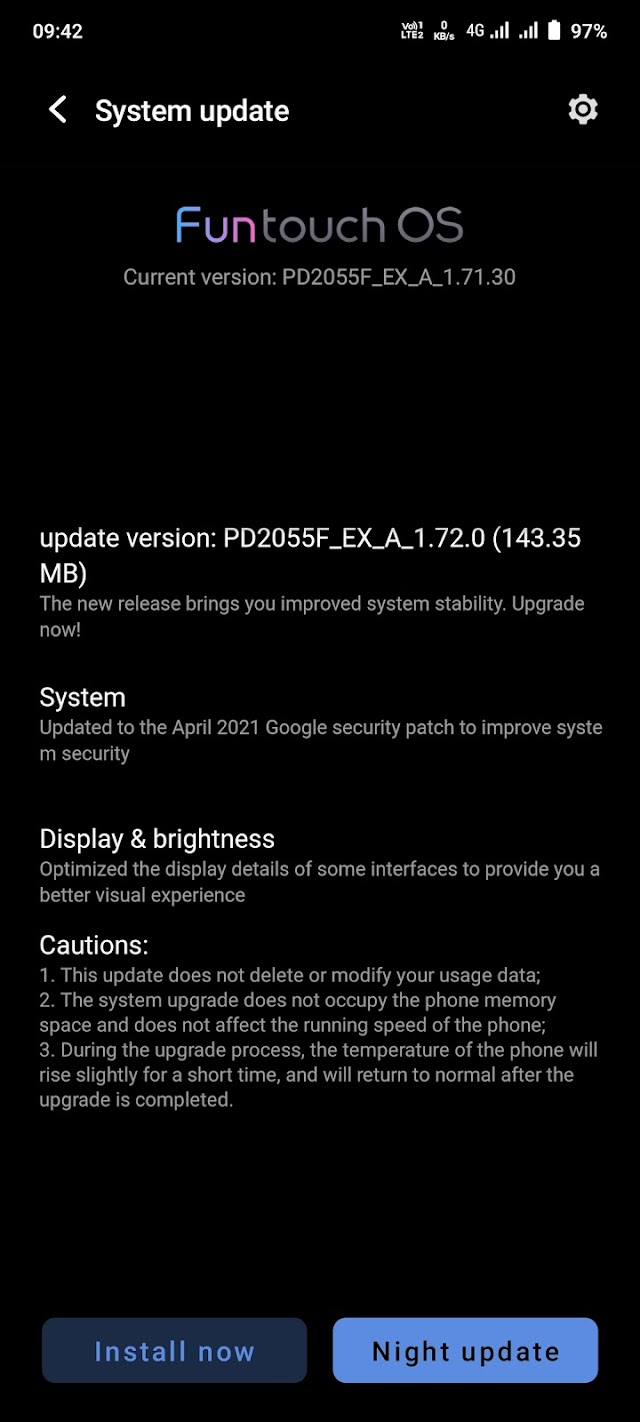 IQOO 7 latest update May 2021 - Display issus fixed