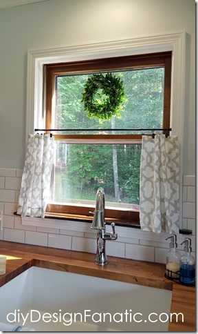 cottage kitchen, farmhouse kitchen, white kitchen, subway tile, wood countertops, cafe curtains