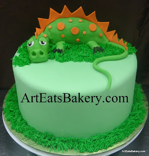 Green and orange 3D dragon custom unique kid's fondant birthday cake