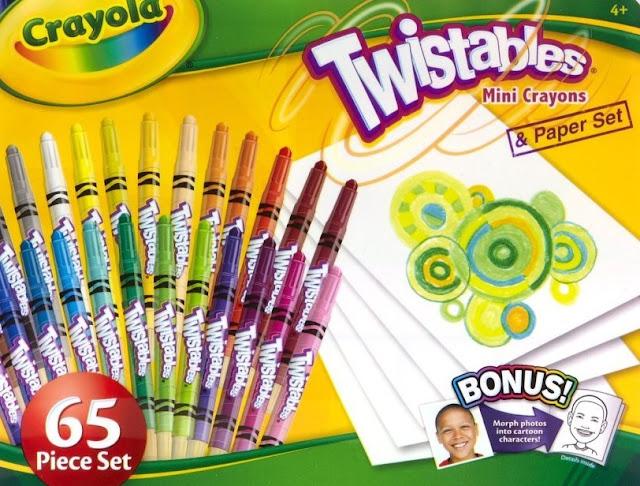 Hộp 25 bút sáp màu và 40 tờ giấy vẽ Crayola Twistables Mini Crayons