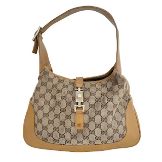 Vintage Gucci Monogram Tan Hobo Bag