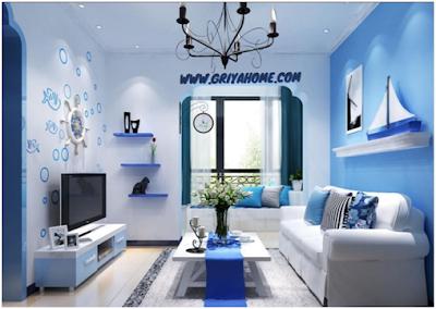 ruang tamu cat biru