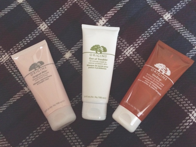 ginzing energy boosting moisturizer, Ginzing mask, orginial skin rose clay mask, Origins, Out of trouble,