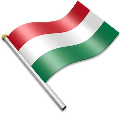 The Hungarian flag on a flagpole clipart image