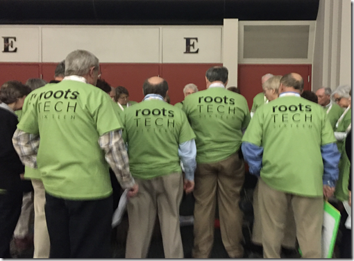 Volunteers prepare for the 2016 RootsTech conference.