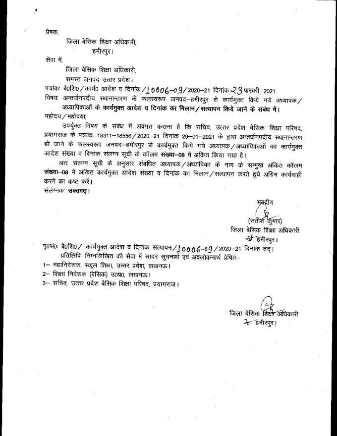 हमीरपुर:- अन्तर्जनपदीय स्थानान्तरण के फलस्वरूप कार्यमुक्त किये गये अध्यापक / अध्यापिकाओं के कार्यमुक्त आदेश व दिनांक सत्यापन किये जाने के संबंध में।