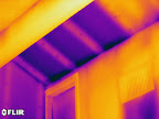 No insulation in attic space above a soffit.