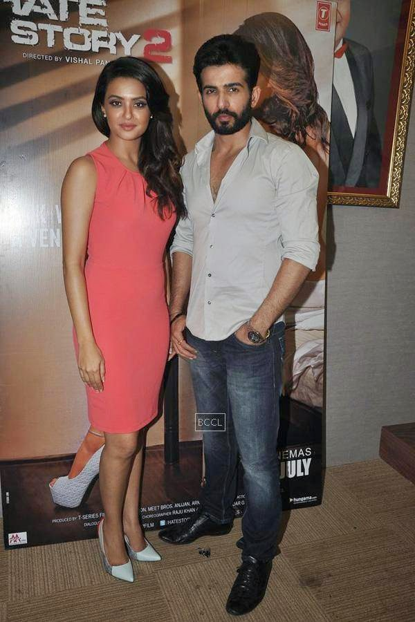 Surveen Chawla and Jay Bhanushali strike a pose during the promotion of Bollywood movie Hate Story 2, held in Mumbai, on July 12, 2014. (Pic: Viral Bhayani)