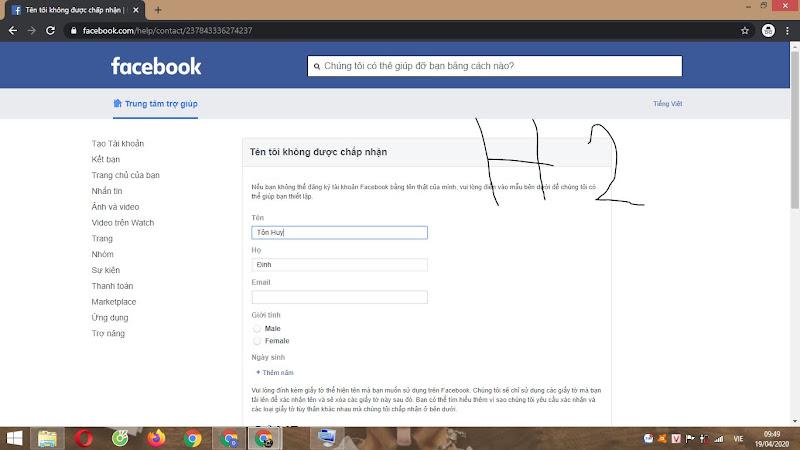Truy cập link 237 đổi tên FB