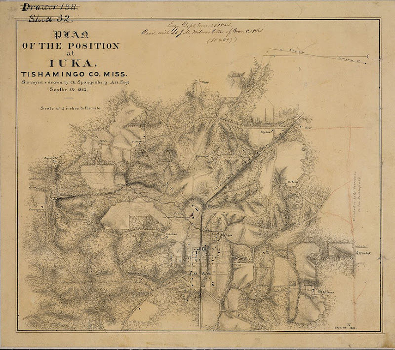 Map of Iuka Mississippi in 1862