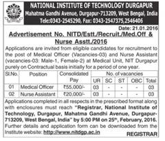 NIT Durgapur Recruitment 2016 indgovtjobs