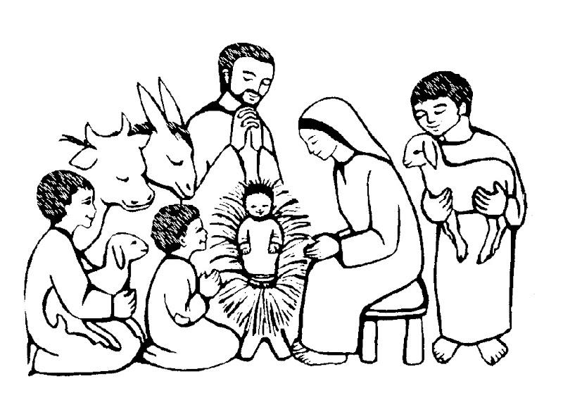 Imágenes de pastores adorando al niño Jesús para colorear