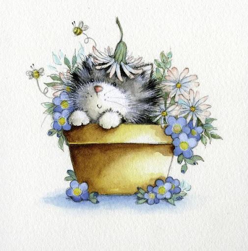Kitten in Flowerpot