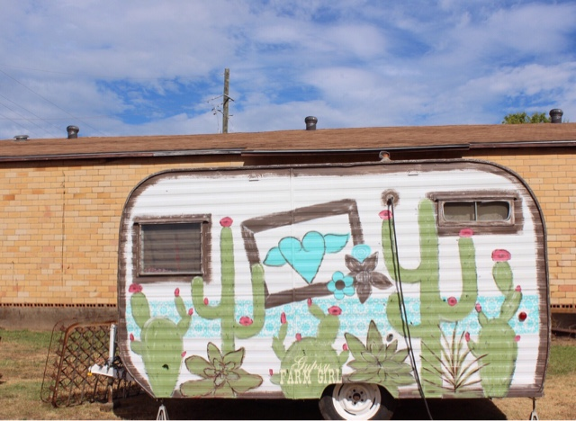 cactus painted on vintage camper