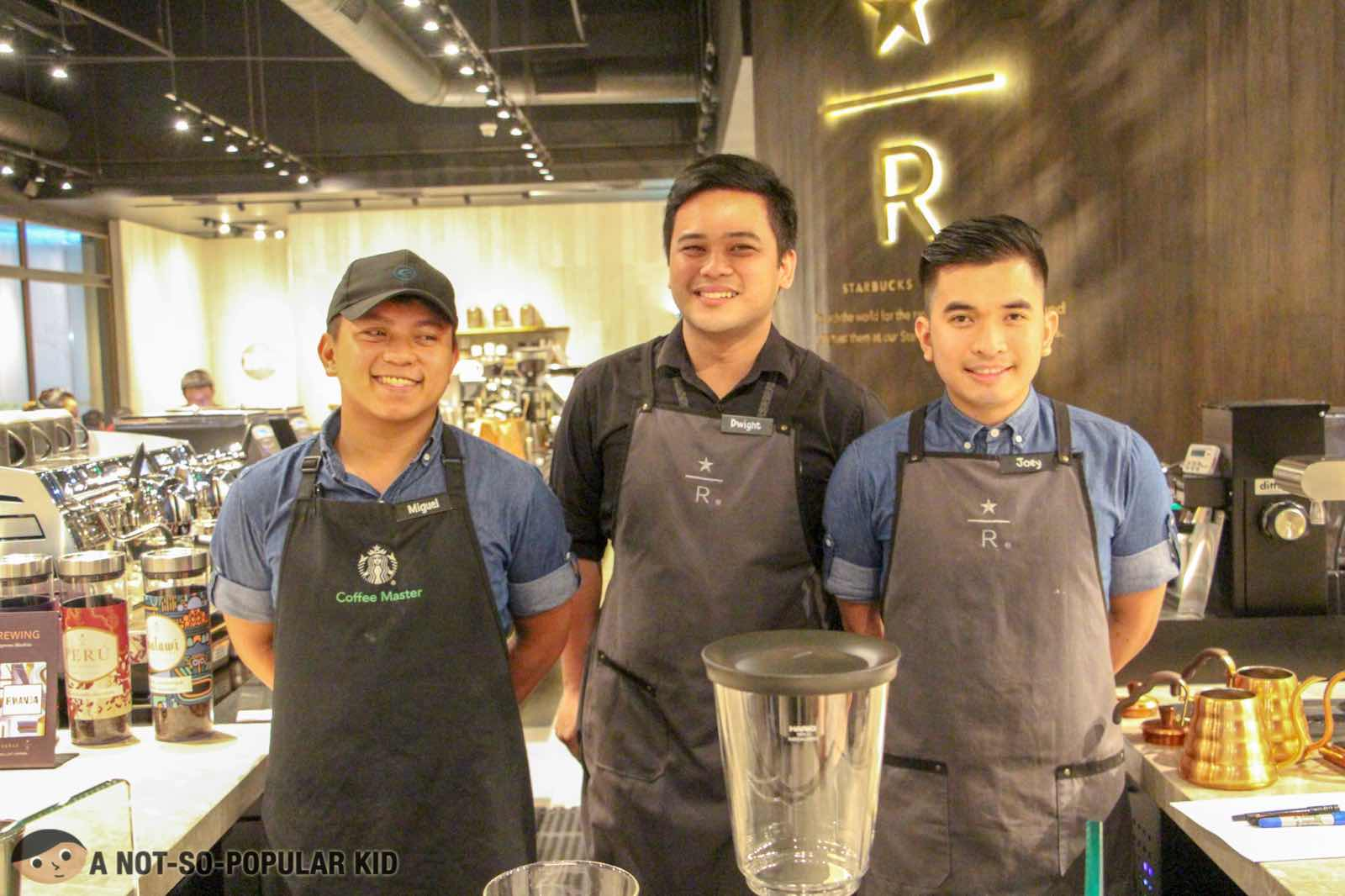 Dwight, Joey and Miguel of Starbucks Reserve in Valero