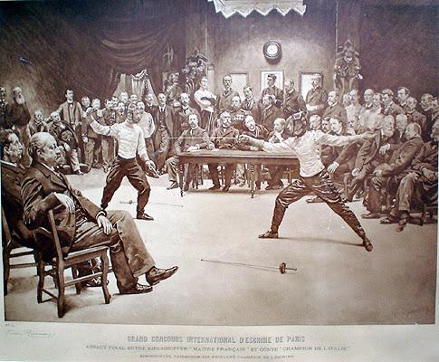 Встреча между профессиональными фехтовальщиками, чемпионами Франции и Италии - Альфонсом Киршхоффером и Антонио Конте, 1896 год. Гравюра. Британский Национальный Музей Фехтования.