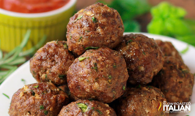 stack of Italian Herb Baked Meatballs